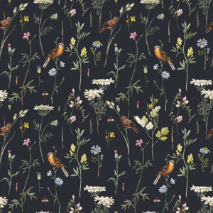 Tapeta Meadow with birds Black Dekornik
